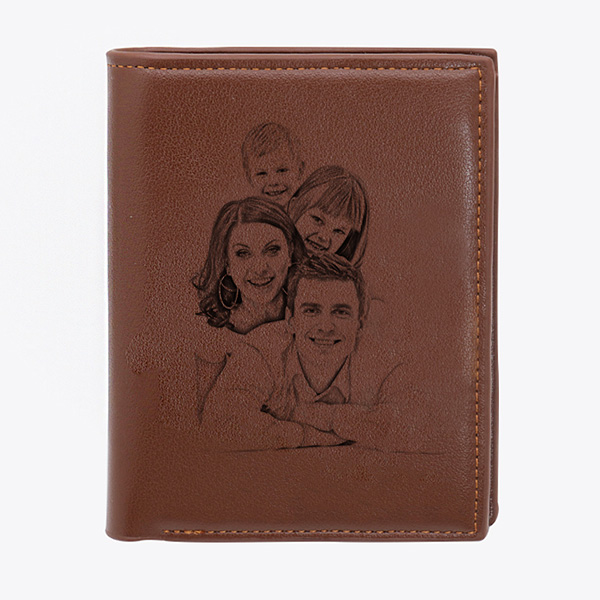 Double-Sided Photo Men's Trifold Vertical Wallet
