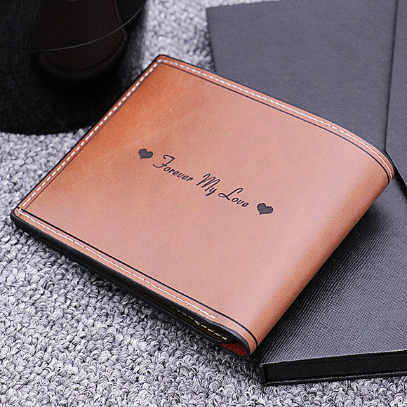 Photo Leather Men's Dark Brown Wallet