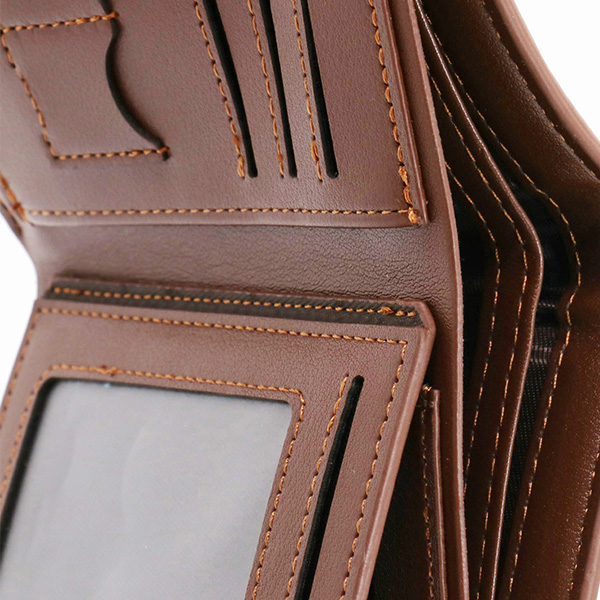 Photo Leather Men's Trifold Vertical Wallet